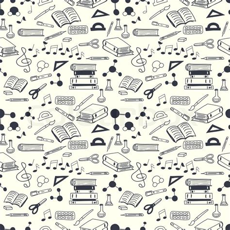 doodle pattern school seamless pattern with scribbled school stationery hand