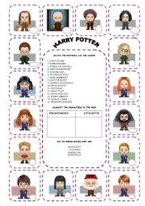 esl worksheets for beginners harry potter