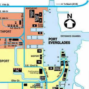 directions to port everglades map and port map of