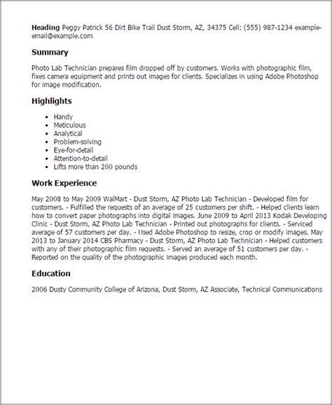 Photo Lab Technician Cover Letter by Professional Photo Lab Technician Templates To Showcase Your Talent Myperfectresume