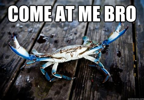 Crab Meme - come at me bro blue crab quickmeme