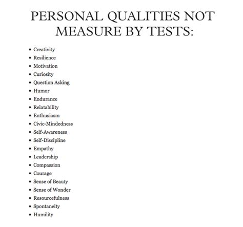 qualities not measured by tests ms e everyday education