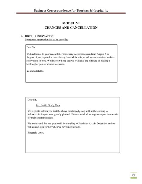 Hotel Cancellation Letter Exle Business Correspondence For The Tourism Industry