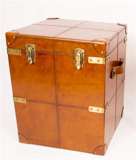 trunk bedside table regent antiques leather steamer trunks made leather trunk luggage bedside table