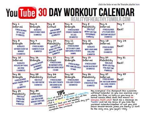 the 30 day workout calendar reality of you