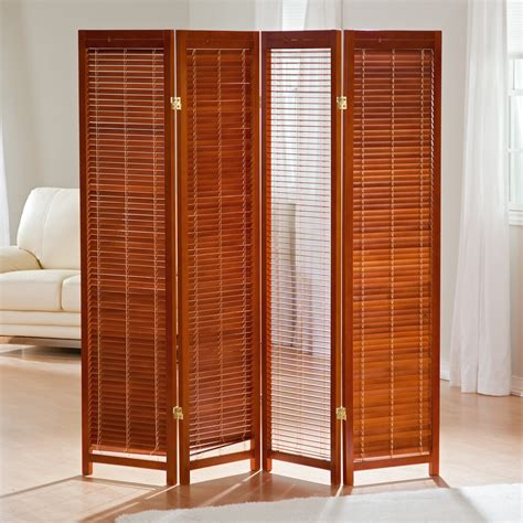 tranquility wooden shutter screen room divider in honey room dividers at hayneedle