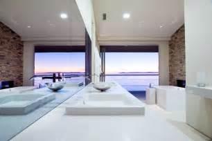Modern master bathroom with vessel sink by abodwell interior design