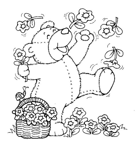teddy bear with flower coloring page teddy bears printables color sheets printable spring