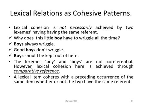 lexical pattern meaning lexical cohesion