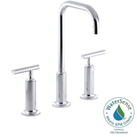 kohler gooseneck kitchen faucet kohler purist 8 in widespread 2 handle mid arc bathroom