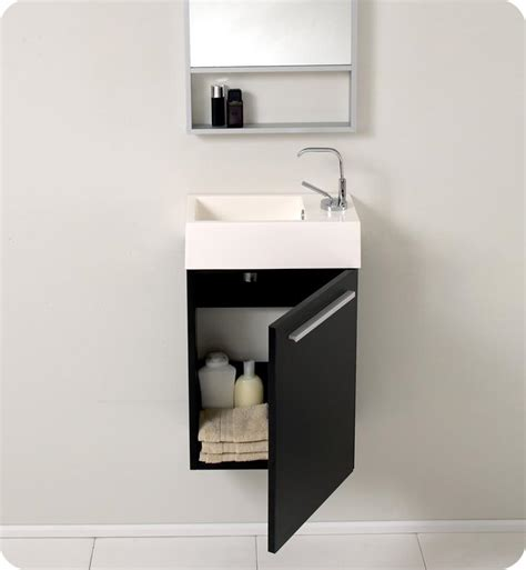 Small Bathroom Sink Cabinets by 15 5 Fresca Pulito Fvn8002bw Small Black Modern Bathroom Vanity W Mirror Bathroom