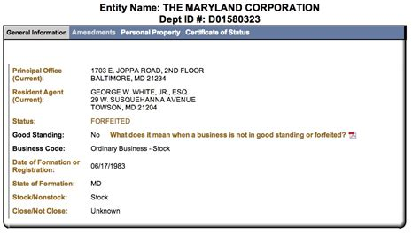 Md Search Lookup Maryland Of State Corporation Business Entity Search Lookup