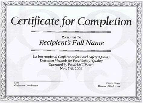 conference certificate template foodhaccp 1st international conference nov 7 8 2006