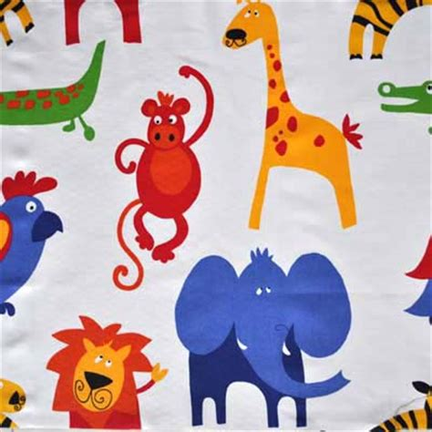childrens upholstery fabric roar primary roar jungle animals in primary white