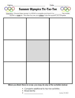 Tic Tac Toe Choice Board Template classroom freebies free summer olympics choice