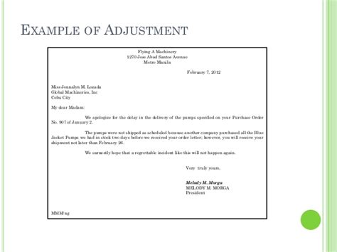 Request Letter For Payment Adjustment Business Letters