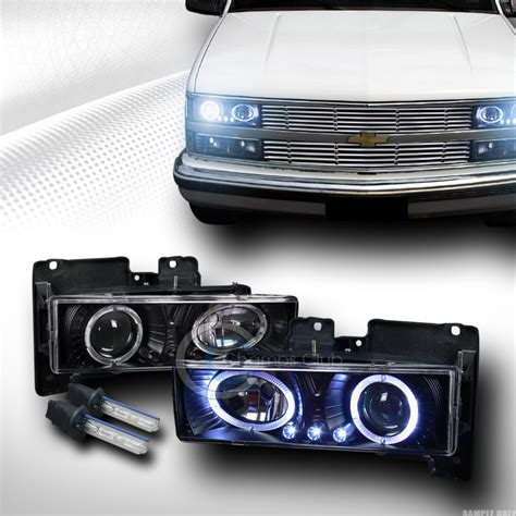 88 98 chevy lights 8000k hid xenon blk led halo projector lights 88 98