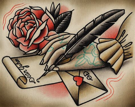 tattoo love letter items similar to love letter tattoo print on etsy