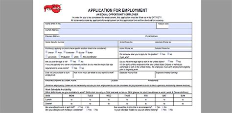printable job application for red lobster red lobster job application adobe pdf apply online