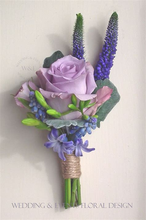 song buttonhole with freesia hyacinth by - Flower Wedding Songs
