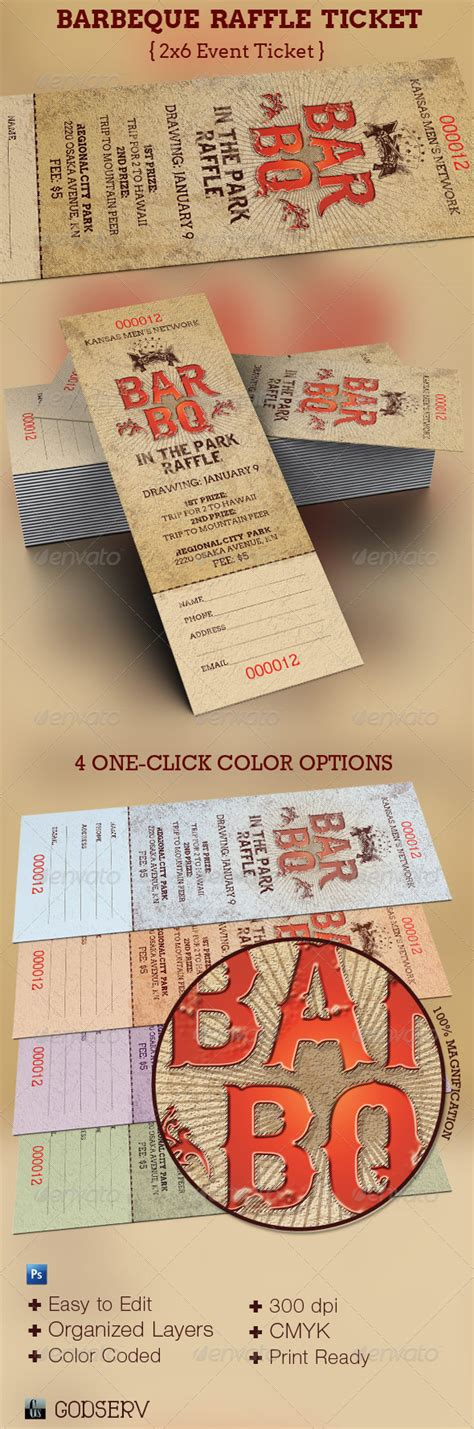 barbeque raffle ticket template by godserv graphicriver