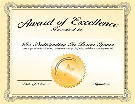 awesome award of excellence certificate template sle