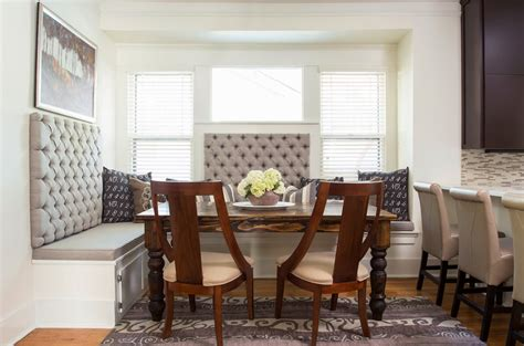 where to buy kitchen banquette furniture grey upholstered curved bench with round table