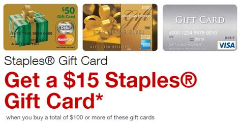 Where Can I Purchase A Mastercard Gift Card - staples easy rebate 15 staples gift card on 100 visa mastercard american