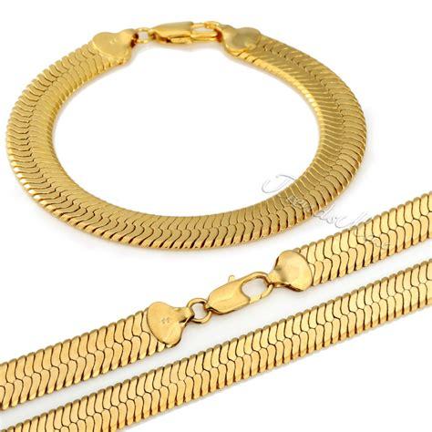 jewelry set 6mm mirror snake herringbone necklace bracelet