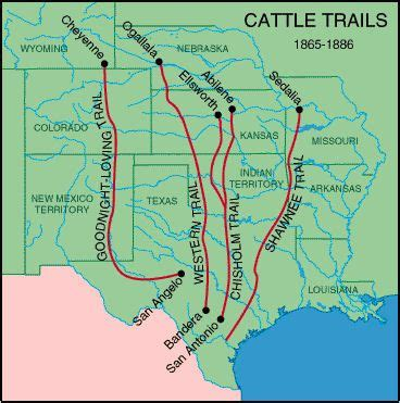 texas cattle trails map 1865 1886 cattle trails map these trails took herds of cattle to towns like dodge city where