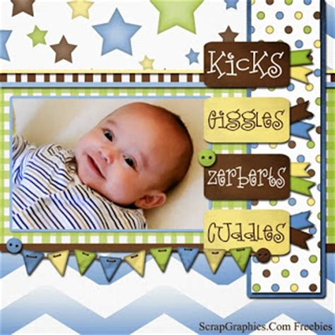 baby scrapbook layout exles scrapgraphics com kicks and giggles scrapbook page