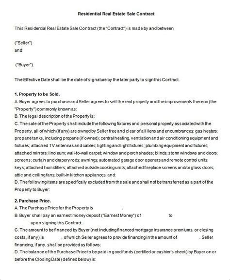 free real estate sales contract template real estate sales contract template letter world
