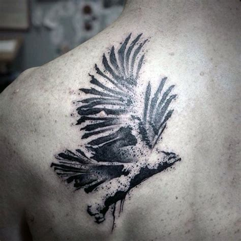 watercolor tattoo black and white abstract style black and white eagle on scapular