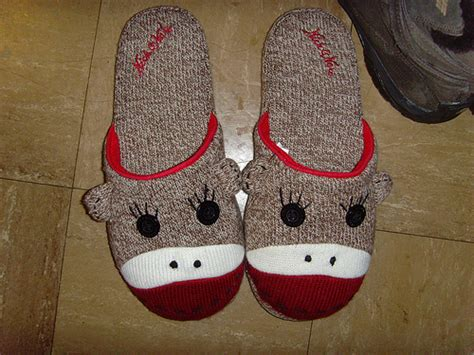 sock monkey house shoes got a pair of sock monkey slippers for annemarie for christmas and terrible and true
