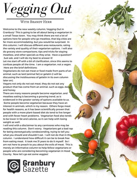 food sections in newspapers vegetarian food magazine newspaper layout column author