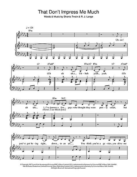 shania twain that dont impress me much tabs chords that don t impress me much sheet music by shania twain