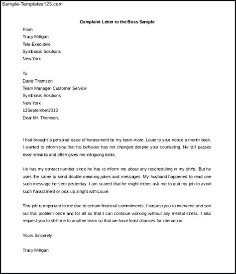 complaint letter template letter of complaint to employer brilliant ideas of how to 1132