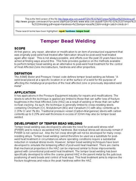 temper bead welding temper bead welding procedures welding heat treating