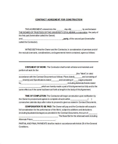 construction work contract template sle construction contractor agreement 7 documents in