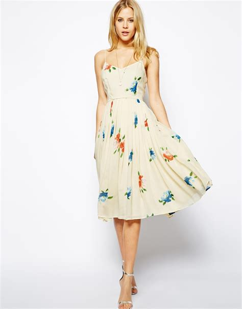 Dress Midi Flower 3 asos midi dress with pleated skirt in floral print in lyst