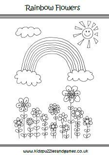 rainbow flower coloring page plush design spring color sheets pages rainbow flower