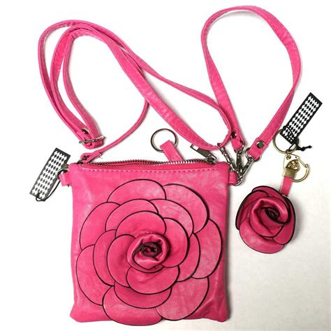 Faux Leather Wristlet Pink Intl grab a bag pink faux leather flower keychain