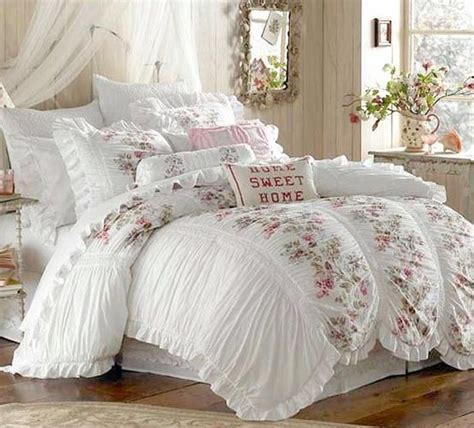 piece shabby white ruffles vintage victorian country cottage chic queen duvet set home decor