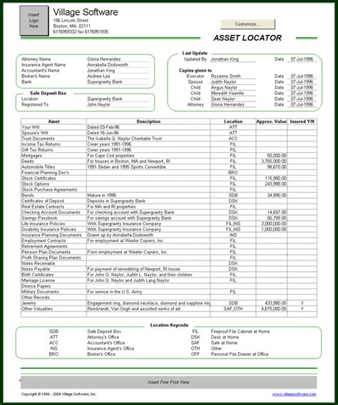 Asset Locator Personal Financial Templates Personal Financial Inventory Template