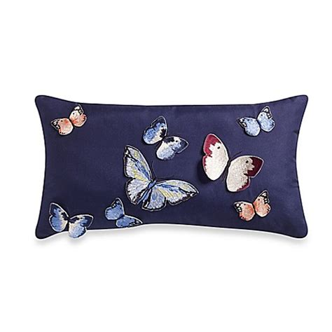 blue throw pillows for bed blink papillon oblong throw pillow in blue bed bath beyond