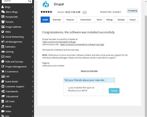 how to install template in cpanel how to install drupal through softaculous on cpanel server