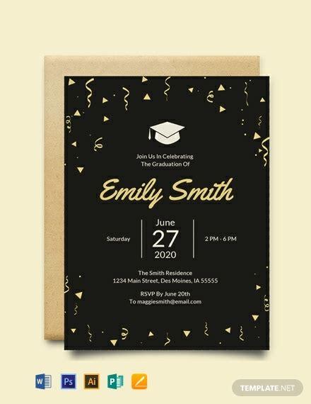 graduation invitation template word psd