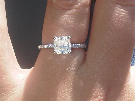 my engagement ring cushion cut with thin band