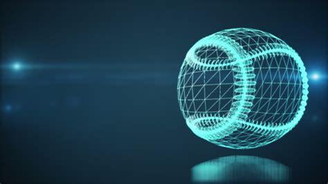 Spiner Hologram spinning wireframe hologram blue baseball loop stock footage 15005530
