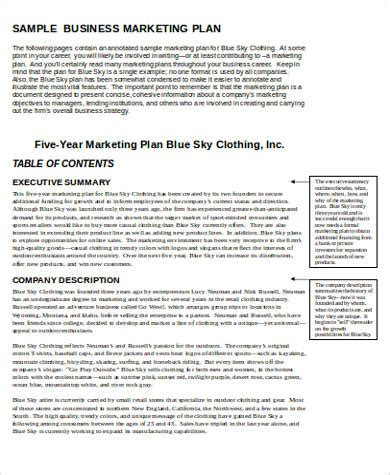 7 Sle Marketing Plan Template Word Sle Templates Business Plan Template For Marketing Company